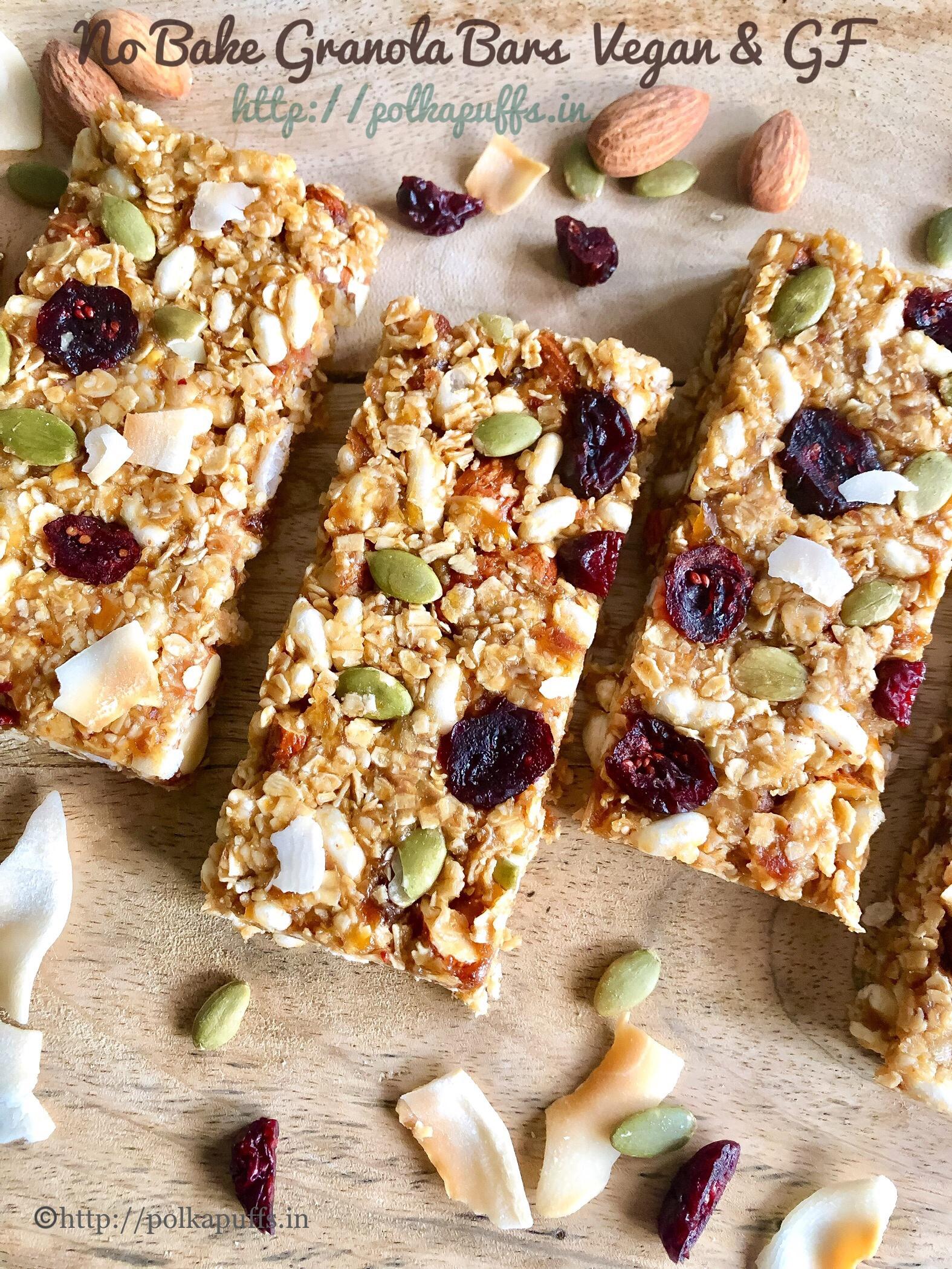 no bake granola bar V & GF pinterest